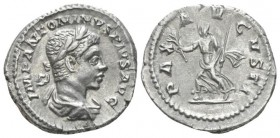 Elagabalus, 218-222 Denarius circa 219, AR 19.4mm., 3.23g. Laureate and draped bust r. Rev. Pax advancing l. holding branch and sceptre. C 120. RIC 12...