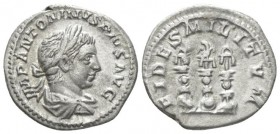 Elagabalus, 218-222 Denarius circa 219-220, AR 19.5mm., 3.04g. Laureate and draped bust r. Rev. Aquila between two signa, with shields at each base. C...