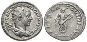 Elagabalus, 218-222 Antoninianus circa 219, AR 21.7mm., 4.82g. Radiate, draped, and cuirassed bust r. Rev. Salus standing r., feed snake which she hol...