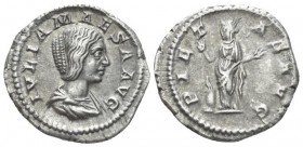 Julia Maesa, sister of Julia Domna and grandmother of Elagabalus Denarius circa 218-222, AR 20.4mm., 3.41g. Draped bust r. Rev. Pietas, veiled and dra...