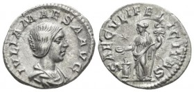 Julia Maesa, sister of Julia Domna and grandmother of Elagabalus Denarius circa 220-222, AR 18.6mm., 2.95g. Draped bust r. Rev. Felicitas standing l. ...