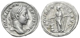 Severus Alexander, 222-235 Denarius circa 222-235, AR 19.5mm., 3.53g. Laureate bust r., with drapery on l. shoulder. Rev. Providentia standing facing,...