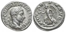 Severus Alexander, 222-235 Denarius circa 222-228, AR 19.1mm., 3.10g. Laureate and draped bust r. Rev. Victory advancing l., holding wreath and palm. ...