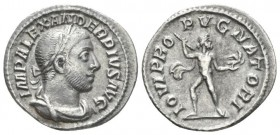 Severus Alexander, 222-235 Denarius circa 231-235, AR 19.6mm., 2.46g. Laureate, draped and cuirassed bust r. Rev. Jupiter standing facing, hurling thu...