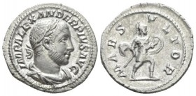 Severus Alexander, 222-235 Denarius circa 232, AR 20.7mm., 3.00g. Laureate, cuirassed and draped bust r. Rev. Mars advancing r. in military attire, ho...