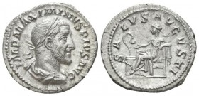 Maximinus I, 235-238 Denarius circa 235-236, AR 20.2mm., 3.23g. Laureate, draped and cuirassed bust r. Rev. Salus seated l., feeding snake coiled arou...