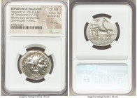 MACEDONIAN KINGDOM. Alexander III the Great (336-323 BC). AR tetradrachm (26mm, 17.21 gm, 10h). NGC Choice AU 4/5 - 4/5, die shift. Late lifetime or e...