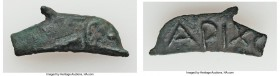 SCYTHIA. Olbia. Ca. 437-410 BC. Cast AE (33mm, 3.65 gm). VF. Dolphin right / APIXO. Anokhin 179. End of tail broken.  HID09801242017  © 2020 Heritage ...