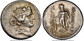 THRACIAN ISLANDS. Thasos. Ca. 2nd-1st centuries BC. AR tetradrachm (30mm, 11h). NGC Choice VF. Ca. 148-90/80 BC. Head of Dionysus right, crowned with ...