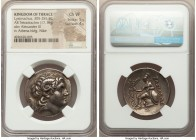 THRACIAN KINGDOM. Lysimachus (305-281 BC). AR tetradrachm (30mm, 17.16 gm, 11h). NGC Choice VF 5/5 - 4/5. Uncertain mint (Pergamum?). Diademed head of...