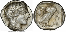 ATTICA. Athens. Ca. 440-404 BC. AR tetradrachm (24mm, 17.20 gm, 4h). NGC Choice AU 5/5 - 3/5. Mid-mass coinage issue. Head of Athena right, wearing cr...