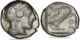ATTICA. Athens. Ca. 440-404 BC. AR tetradrachm (25mm, 17.20 gm, 5h). NGC AU 5/5 - 4/5. Mid-mass coinage issue. Head of Athena right, wearing crested A...