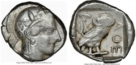 ATTICA. Athens. Ca. 440-404 BC. AR tetradrachm (24mm, 17.17 gm, 10h). NGC AU 3/5 - 4/5. Mid-mass coinage issue. Head of Athena right, wearing crested ...