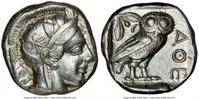 ATTICA. Athens. Ca. 440-404 BC. AR tetradrachm (23mm, 17.20 gm, 10h). NGC Choice XF 5/5 - 5/5. Mid-mass coinage issue. Head of Athena right, wearing c...