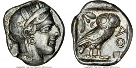 ATTICA. Athens. Ca. 440-404 BC. AR tetradrachm (23mm, 17.12 gm, 7h). NGC Choice XF 5/5 - 4/5. Mid-mass coinage issue. Head of Athena right, wearing cr...