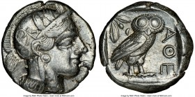 ATTICA. Athens. Ca. 440-404 BC. AR tetradrachm (23mm, 17.15 gm, 4h). NGC Choice XF 5/5 - 4/5. Mid-mass coinage issue. Head of Athena right, wearing cr...