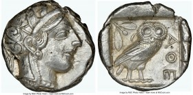 ATTICA. Athens. Ca. 440-404 BC. AR tetradrachm (24mm, 17.16 gm, 10h). NGC Choice XF 5/5 - 4/5. Mid-mass coinage issue. Head of Athena right, wearing c...