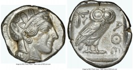 ATTICA. Athens. Ca. 440-404 BC. AR tetradrachm (25mm, 17.18 gm, 4h). NGC Choice XF 5/5 - 4/5. Mid-mass coinage issue. Head of Athena right, wearing cr...