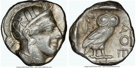 ATTICA. Athens. Ca. 440-404 BC. AR tetradrachm (24mm, 17.20 gm, 9h). NGC Choice XF 4/5 - 4/5. Mid-mass coinage issue. Head of Athena right, wearing cr...