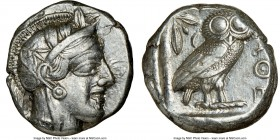 ATTICA. Athens. Ca. 440-404 BC. AR tetradrachm (23mm, 17.19 gm, 1h). NGC XF 4/5 - 4/5. Mid-mass coinage issue. Head of Athena right, wearing crested A...