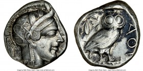 ATTICA. Athens. Ca. 440-404 BC. AR tetradrachm (24mm, 17.17 gm, 11h). NGC XF 4/5 - 3/5, brushed. Mid-mass coinage issue. Head of Athena right, wearing...
