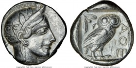 ATTICA. Athens. Ca. 440-404 BC. AR tetradrachm (23mm, 17.17 gm, 9h). NGC Choice VF 5/5 - 3/5, edge cut. Mid-mass coinage issue. Head of Athena right, ...