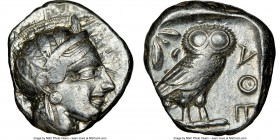 ATTICA. Athens. Ca. 440-404 BC. AR tetradrachm (23mm, 17.16 gm, 7h). NGC VF 4/5 - 4/5. Mid-mass coinage issue. Head of Athena right, wearing crested A...