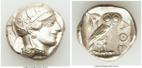 ATTICA. Athens. Ca. 440-404 BC. AR tetradrachm (25mm, 17.20 gm, 1h). AU. Mid-mass coinage issue. Head of Athena right, wearing crested Attic helmet or...