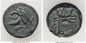 SPARTOCID KINGDOM. Early Kingdom. Ca. 438/7-304/3 BC. AE (17mm, 4.41 gm, 6h). Choice VF. Panticapaeum, ca. 325-310 BC. Head of bearded satyr left / Π-...