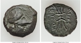 SPARTOCID KINGDOM. Late Kingdom. Leucon II (ca. 240-220 BC). AE (19mm, 4.16 gm, 3h). VF. Head of Athena right, wearing Corinthian helmet pushed back o...