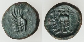 SPARTOCID KINGDOM. Late Kingdom. Ca. 304/3-180 BC. AE (11mm, 1.26 gm, 3h). VF. Panticapaeum, ca. 250-200 BC. Wing of griffin right / ΠAN, tripod. MacD...