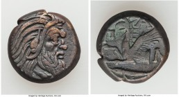 CIMMERIAN BOSPORUS. Panticapaeum. 4th century BC. AE (19mm, 7.64 gm, 5h). Choice VF. Head of bearded Pan right / Π-A-N, forepart of griffin left, stur...