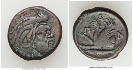 CIMMERIAN BOSPORUS. Panticapaeum. 4th century BC. AE (20mm, 7.38 gm, 7h). VF. Head of bearded Pan right / Π-A-N, forepart of griffin left, sturgeon le...