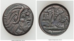 CIMMERIAN BOSPORUS. Panticapaeum. 4th century BC. AE (21mm, 7.04 gm, 6h). Choice VF. Head of bearded Pan right / Π-A-N, forepart of griffin left, stur...