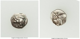 MYSIA. Cyzicus. Ca. 5th century BC. AR hemiobol (9mm, 0.34 gm, 5h). XF. Forepart of boar left, tunny upward behind / Head of lion left; star in upper ...