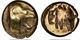 LESBOS. Mytilene. Ca. 521-478 BC. EL sixth-stater or hecte (11mm, 3h). NGC Fine. Head of roaring lion right with pelleted truncation / Incuse head of ...