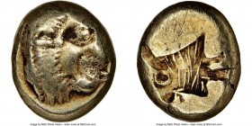 LESBOS. Mytilene. Ca. 521-478 BC. EL sixth-stater or hecte (10mm, 9h). NGC Fine, scratches. Head of roaring lion right with pelleted truncation / Incu...