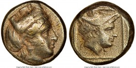 LESBOS. Mytilene. Ca. 412-378 BC. EL sixth stater or hecte (10mm, 12h). NGC Choice VF, countermark. Head of Artemis-Cybele right, wearing turreted cro...