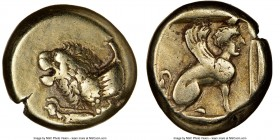 LESBOS. Mytilene. Ca. 412-378 BC. EL sixth stater or hecte (11mm, 2h). NGC VF. Forepart of winged lion left / Sphinx seated right in linear square wit...