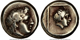 LESBOS. Mytilene. Ca. 377-326 BC. EL sixth-stater or hecte (10mm, 5h). NGC Choice Fine, scuff. Laureate head of Apollo (Dionysus?) right / Head of fem...