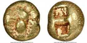 IONIA. Ephesus. Ca. 600-550 BC. EL third-stater or trite (12mm, 4.72 gm). NGC Choice Fine 4/5 - 4/5. 'Primitive' bee, viewed from above / Two incuse s...