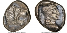 CARIA. Cnidus. Ca. 530/20-480 BC. AR trihemiobol (12mm, 7h). NGC Choice XF. Head of roaring lion right / Head of Aphrodite right, wearing three string...