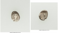CARIA. Mylasa. Ca. 450-400 BC. AR hemiobol (9mm, 0.50 gm, 12h). Choice VF. Facing forepart of lion / Scorpion within incuse square. SNG Kayhan 934-8. ...