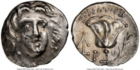 CARIAN ISLANDS. Rhodes. Ca. 230-205 BC. AR hemidrachm (12mm, 12h). NGC XF, flan flaw. Eucrates, magistrate. Radiate head of Helios facing, turned slig...