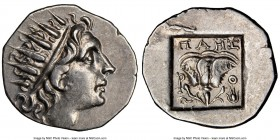 CARIAN ISLANDS. Rhodes. Ca. 88-84 BC. AR drachm (17mm, 11h). NGC AU. Plinthophoric standard, Maes, magistrate. Radiate head of Helios right / MAHΣ, ro...
