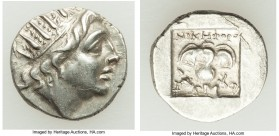 CARIAN ISLANDS. Rhodes. Ca. 88-84 BC. AR drachm (14mm, 2.03 gm, 1h). XF. Plinthophoric standard, Nicephorus, magistrate. Radiate head of Helios right ...