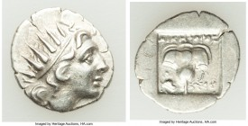 CARIAN ISLANDS. Rhodes. Ca. 88-84 BC. AR drachm (16mm, 2.25 gm, 12h). About VF. Plinthophoric standard, Nicephorus, magistrate. Radiate head of Helios...