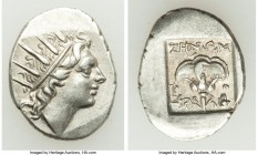 CARIAN ISLANDS. Rhodes. Ca. 88-84 BC. AR drachm (17mm, 2.56 gm, 12h). Choice VF. Plinthophoric standard, Zenon, magistrate. Radiate head of Helios rig...