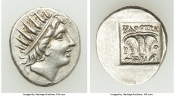 CARIAN ISLANDS. Rhodes. Ca. 88-84 BC. AR drachm (15mm, 2.69 gm, 1h). Choice VF. Plinthophoric standard, Philostratus, magistrate. Radiate head of Heli...
