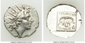 CARIAN ISLANDS. Rhodes. Ca. 88-84 BC. AR drachm (14mm, 2.20 gm, 12h). XF. Plinthophoric standard, Thrasymedes, magistrate. Radiate head of Helios righ...